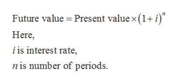 Future value Present value x (1+ i) Here i is interest rate, n is number of periods
