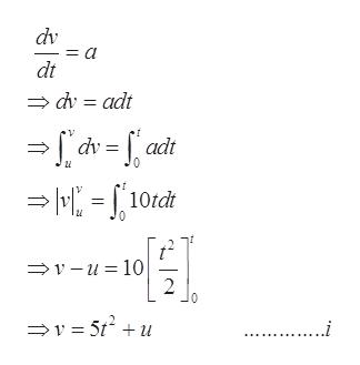 dv dt dv adt -=f adt 10tdt V-u 10 2 .....i