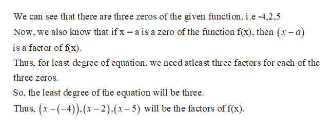We can see that there are three zeros of the given functi on, i.e -4,2,5 Now, we also know that if x is a factor of f(x) a is a zero of the function f(x), then (x-a) Thus, for least degree of equation, we need atleast three factors for each of the three zeros So, the least degree of the equation will be three. Thus, x-(4))x-2).(x-5) will be the factors of f(x)