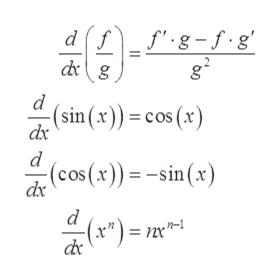 "fg-f.g df dg d (sin (x))= cos (x) dx (cos(x)) =-sin (x) dx e"") = 2x"