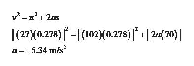 [(27)(0.278)[102)(0.278)]+[2a(70)] a-5.34 m/s2