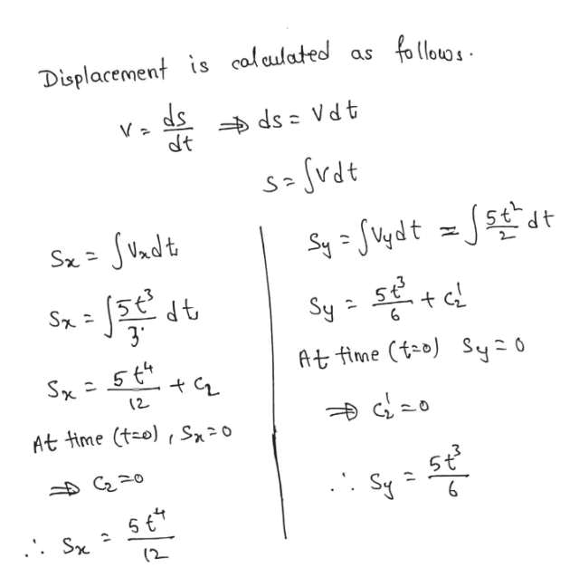 Displacement is calculated as ds dt ds Vd t S vdt SVndt Sx= S- 37 Sy 6 At fime (to) Sy 0 (2 At time (t-o) S0 5t S C20 (2