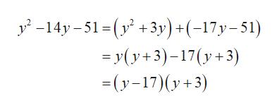 y-14y-1 3y) +(-17y-51) yy+3)-17(y3 (y17)(y3)