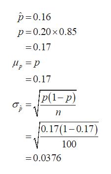 р-0.16 р3D0.20x0.85 =0.17 М, — р 0.17 |P(1-р) бр п 0.17(1-0.17) 100 0.0376