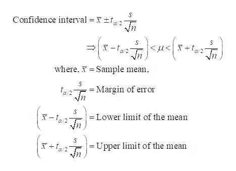 Confidence interval = x f2 Tn <u< X +t/2_Tn where, Sample mean S =Margin of error = Lower limit of the mean = Upper limit of the mean