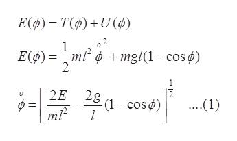 Εφ)-Τφ)+ U() ο2 1 Ε(φ)-ml? φ +mgl(1- cos φ) 2 4-ΗΗ-ωo). 2Ε 2g .1) (1-cos φ) ml2