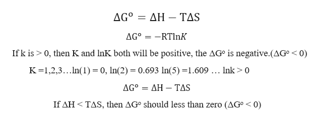 AGo ΔΗ-ΤS AGo RTlnK If k is 0, then K and InK both will be positive, the AG° is negative.(AG° < 0) K1,2,3...In(1) = 0, In(2) = 0.693 ln(5) =1.609 ... Ink > 0 ΔG ΔΗ-TAS If AH TAS, then AG° should less than zero (AG° < 0)