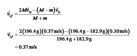 2M, - (м -т)\и Vу М+т 2(19643) (0.37 mb)-(1964g —18298)(о30шs) 196.4g+182.9g 0.37m/s