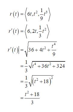1 r(t)6f,f2 1 '(t)(6,2t, 3 r'(t36+4t2 9 1 4 +36t2324 (f2 +18) t218