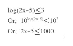 log(2x-5)3 Oг, 100E2x-5)<10° Or, 2x-5 1000