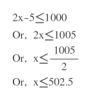 2x-5 1000 Or, 2x1005 1005 Or, x 2 Or, x502.5