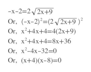 -х-232 2х+9 Or, x-2)(22x+9 ) Or, x2+4x+4 4(2x+9) Or, x2+4x+4-8x+36 Or, х?-4x-32-0 Оr, (x+4)(х-8)-0