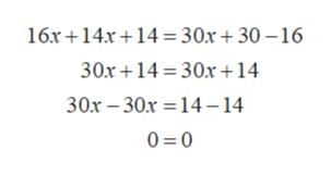 16x 14x14= 30x + 30 -16 30x14 30x14 30x 30x 14-14 0 0