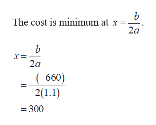 The cost is minimum at x 2a -b 2a -(-660) 2(1.1) =300
