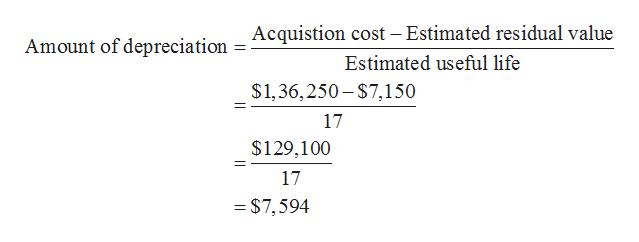 Acquistion cost - Estimated residual value Amount of depreciation Estimated useful life $1,36,250-$7,150 17 $129,100 17 =$7,594