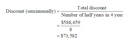 Total discount Discount (semiannually) Number of half years in 4 year $588,659 8 = $73,582