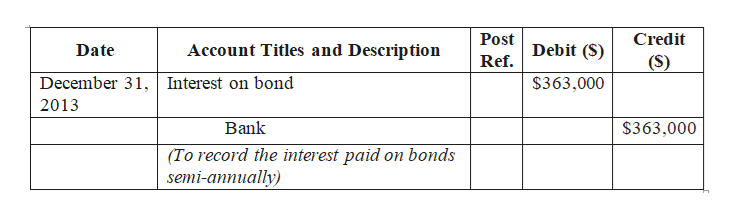 Post Credit Debit (S) Account Titles and Description Date Ref. (S) December 31,Interest on bond $363,000 2013 Bank $363,000 (To record the interest paid on bonds semi-annually