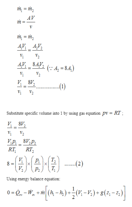 т 3 т, AV т т 3 т, 4,V A,V, V2 4,.V 8.4V (A-8.4 8V 12 Substitute specific volume into 1 by using gas equation pv = RT; 12 Ир 8V,р. RT2 RT И 8= Т, X (2) X Р. Using energy balance equation 0-2-W(- ) )+8(-2) m