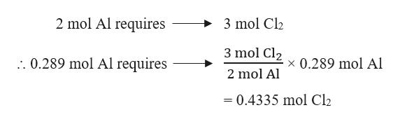 2 mol Al requires 3 mol Cl2 3 mol Cl2 .0.289 mol Al requires x 0.289 mol Al 2 mol Al 0.4335 mol Cl2