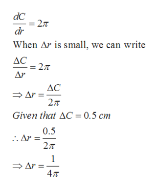 dC2T dr When Ar is small, we can write AC2T Ar AC Ar 27T Given that AC 0.5 cm 0.5 .. Ar 27T 1 Ar 47T