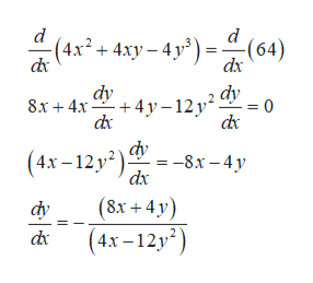d -(4х? + 4лу- 4у?) - -(64) dx dx dy dy = 0 8х + 4х +4у-12 у* d dк (4х - 12 у) -8х - 4у dx (8х +4у) (4х-12у?) фу ск