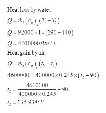 Heat loss by water Q= m,(c), (T-7) 92000x1x (190-140) Q4600000Btu /h Heat gain by air =m,(c,) (t-4) 4600000 400000 x 0.245 x (t, -90) 4600000 400000 x 0.245 06 t=136.938°F
