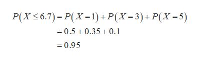 P(XS6.7) P(X-1) + P(X=3)+ P(X=5) 0.50.350.1 =0.95