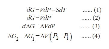 dG VdP-SdT (1) (2) (3) dG VdP dAG AVdP AG-AG A(P-P) (4)