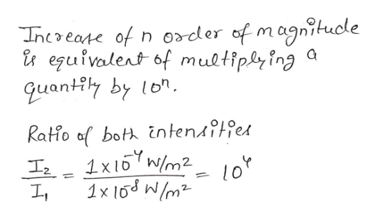 magnhucle Inceate of n order of m i egufvalent of muetiplying quantily by lon Ratio af both intensfffes W/m2 1x 16 W/m2