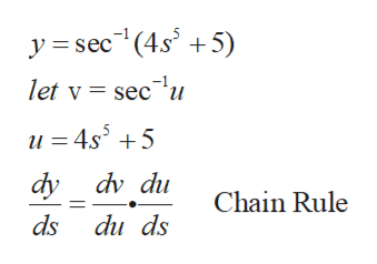 y sec(4s 5) let v = sec u u 4s5 dy dv du Chain Rule ds du ds