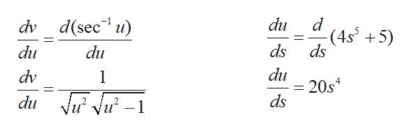 dv d(sec u) du -(4s 5 ds ds du du du 20s4 ds dv 1