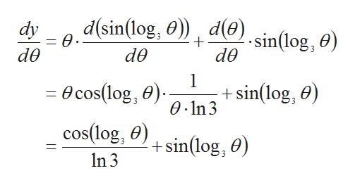 d(sin(log, 0)de).sin(log, dy 0 de de de 1 = Ocos(log, 0) cos(log, )+sin(log, 0) 0.In 3 Sin(log, 0) In 3