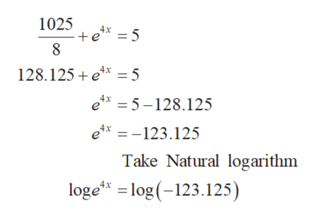 1025 5 128.125 ex 5 ex =5-128.125 ex123.125 Take Natural logarithm loge log (-123.125)