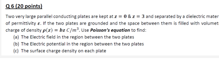 Answered: Q 6 (20 points) Two very large parallel… | bartleby