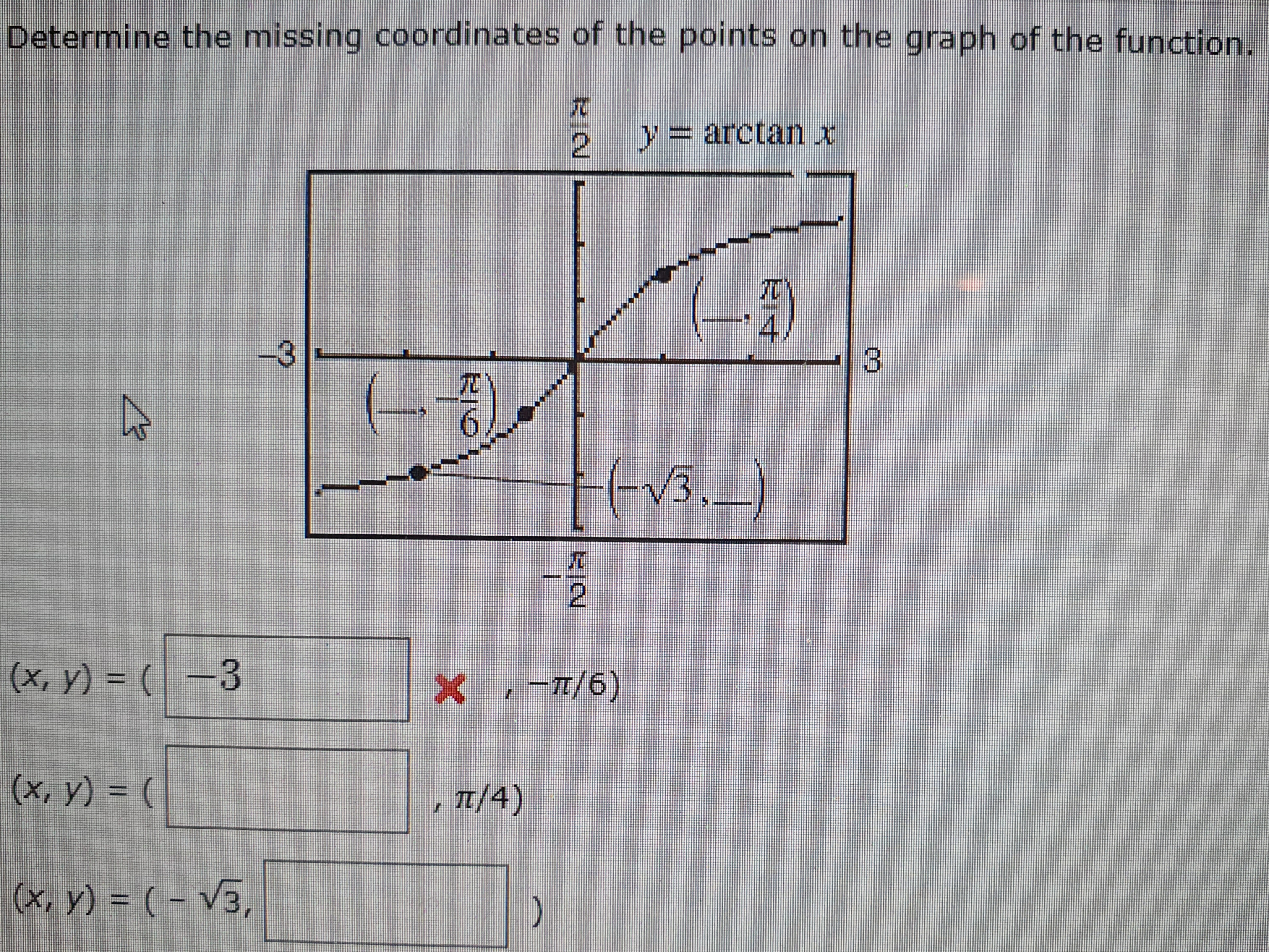 Determine the missing coordinates of the points on the graph of the function. 2 =arctan x 4 3 -3 6 tv3.) (x, y) (3 X /6)  (x, y) ( E/4) (x, y) (-V3,