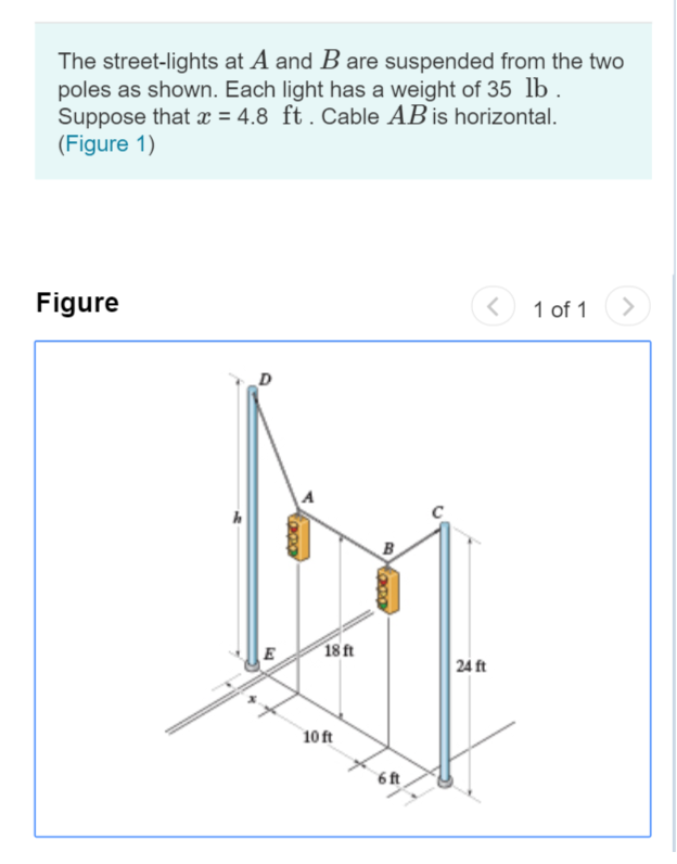 The street-lights at A and B are suspended from the two poles as shown. Each light has a weight of 35 lb . Suppose that x 4.8 ft. Cable AB is horizontal. (Figure 1) Figure 1 of 1 D 18 ft E 24 ft 10 ft 6 ft