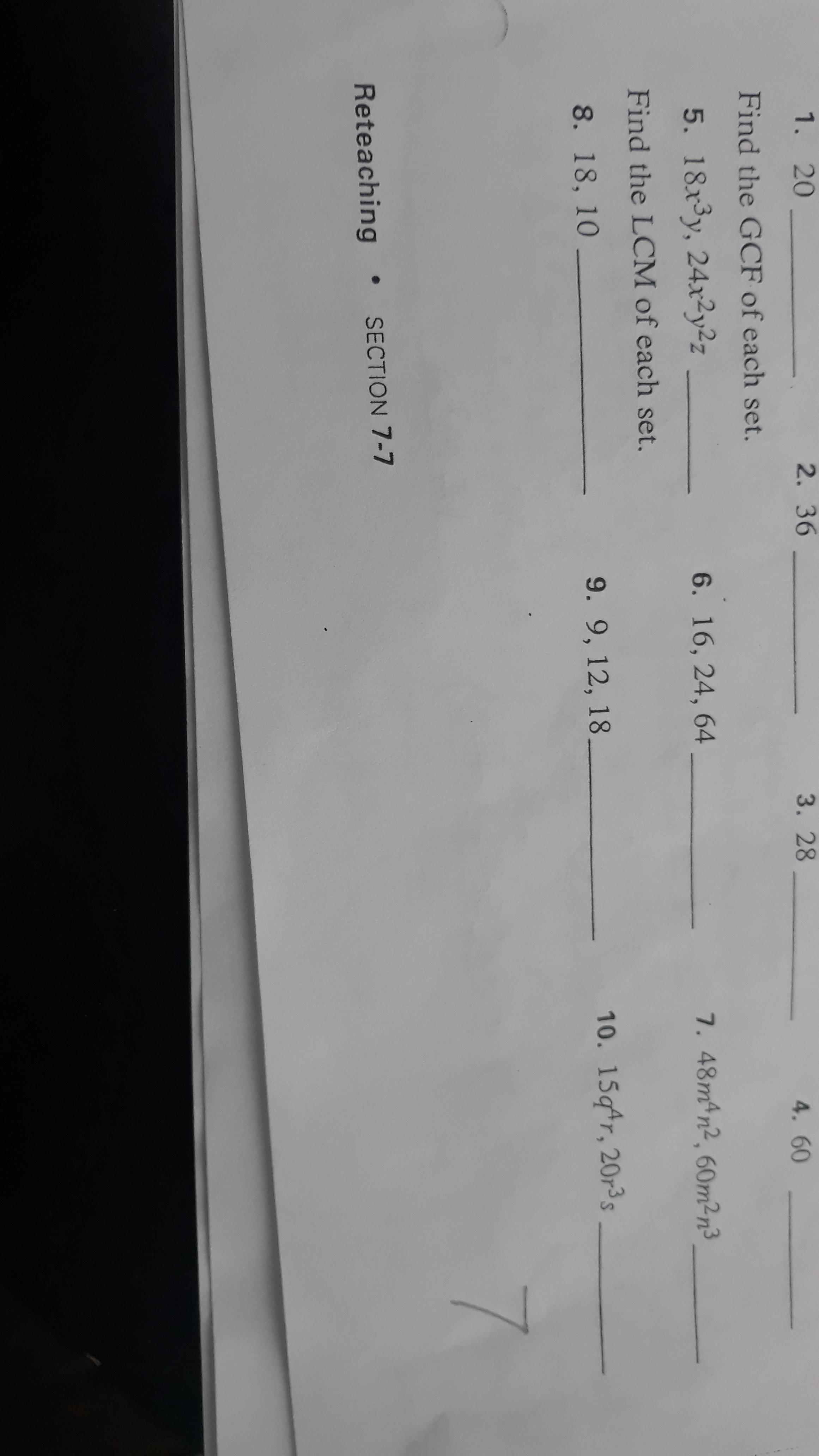 Find the GCF of each set. 5. 18x3y, 24x²y2z