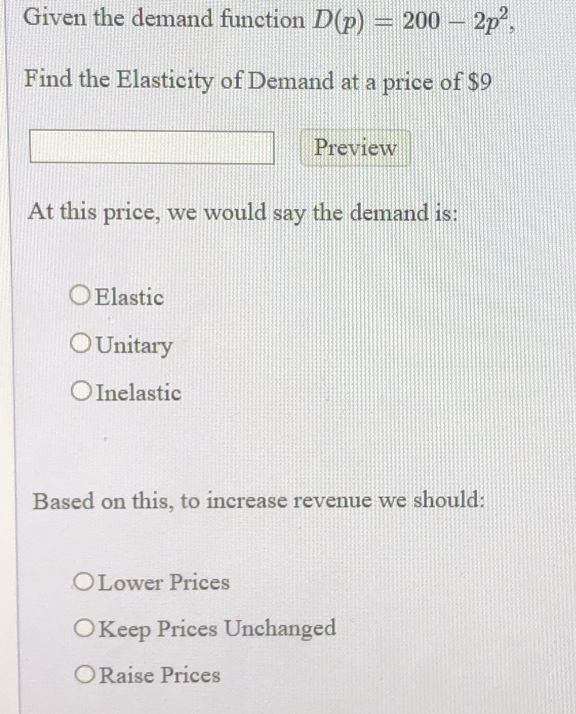 Answered Given The Demand Function D P 200 2p Bartleby