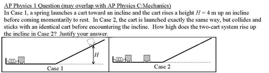 In Case 1, a spring launches a cart toward an incline and the cart rises a height H = 4 m up an incline before coming momentarily to rest. In Case 2, the cart is launched exactly the same way, but collides and sticks with an identical cart before encountering the incline. How high does the two-cart system rise up the incline in Case 2? Justify your answer.