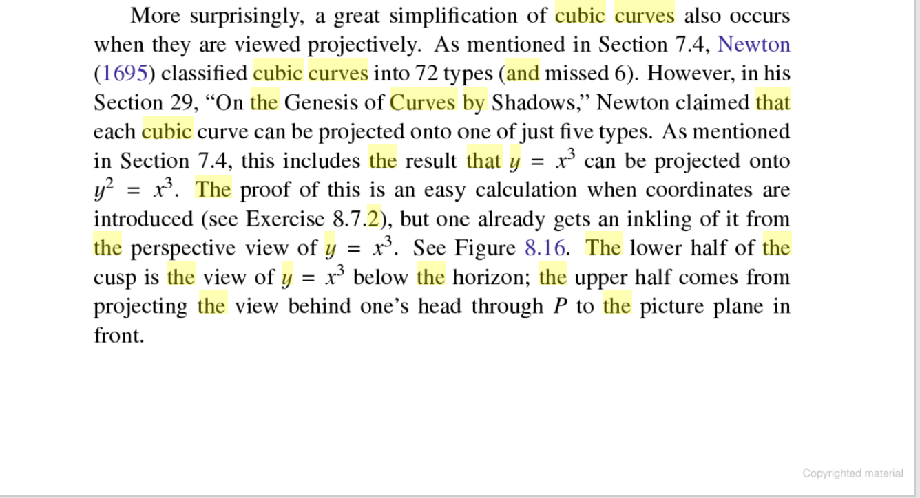 """More surprisingly, a great simplification of cubic curves also occurs when they are viewed projectively. As mentioned in Section 7.4, Newton (1695) classified cubic curves into 72 types (and missed 6). However, in his Section 29, """"On the Genesis of Curves by Shadows,"""" Newton claimed that each cubic curve can be projected onto one of just five types. As mentioned in Section 7.4, this includes the result that y y x. The proof of this is an easy calculation when coordinates are introduced (see Exercise 8.7.2), but one already gets an inkling of it from the perspective view of y cusp is the view of y projecting the view behind one's head through P to the picture plane in front x can be projected onto x. See Figure 8.16. The lower half of the x3 below the horizon; the upper half comes from Copyrighted material"""