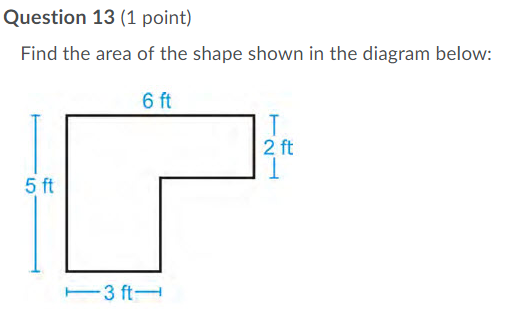 Question 13 (1 point) Find the area of the shape shown in the diagram below: 6 ft 2 ft 5 ft 3 ft