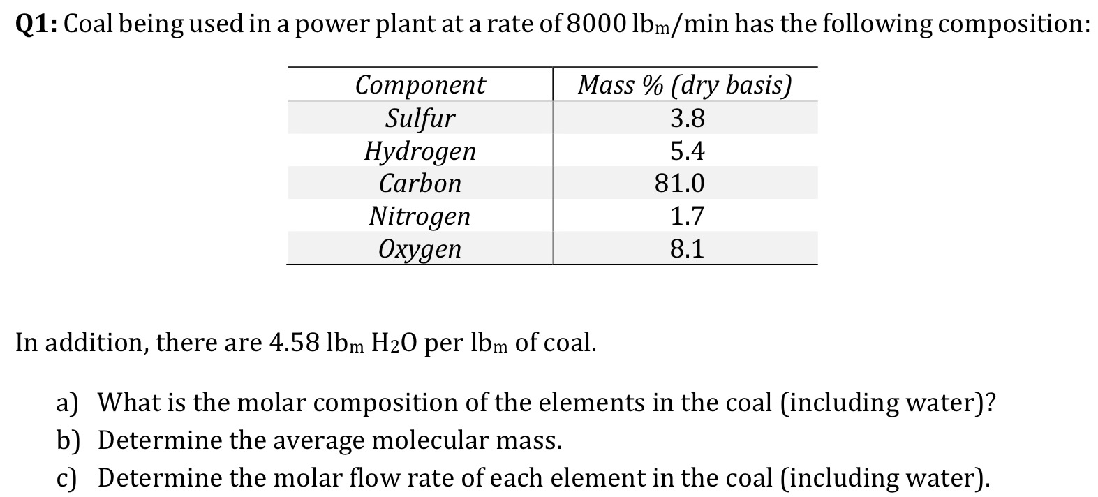 Q1: Coal being used in a power plant at a rate of 8000 lbm/min has the following composition: Mass % (dry basis) Соmponent Sulfur Hydrogen Carbon 3.8 5.4 81.0 Nitrogen Охудеп 1.7 8.1 In addition, there are 4.58 1lbm H20 per lbm of coal. a) What is the molar composition of the elements in the coal (including water)? b) Determine the c) Determine the molar flow rate of each element in the coal (including water) molecular mass. average