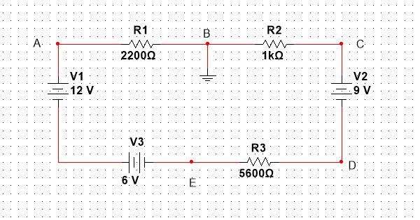 R1 R2 B A. C 2200Q 1kQ V1 12 V V2 .9 V V3 R3 56000 6 V ...