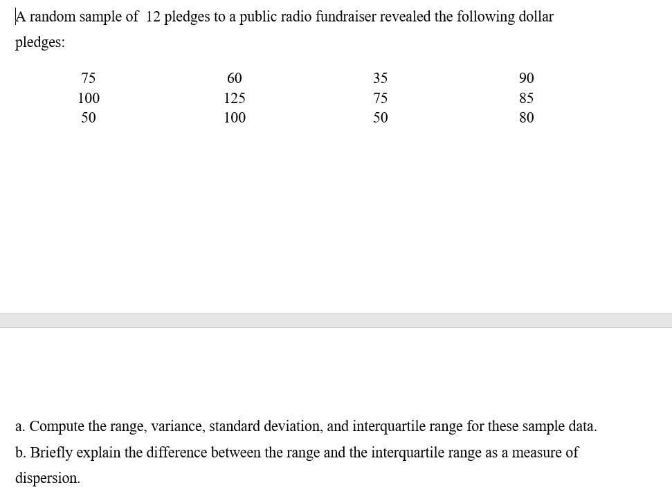 A random sample of 12 pledges to a public radio fundraiser revealed the following dollar pledges: 75 60 35 90 100 125 75 85 50 100 50 80