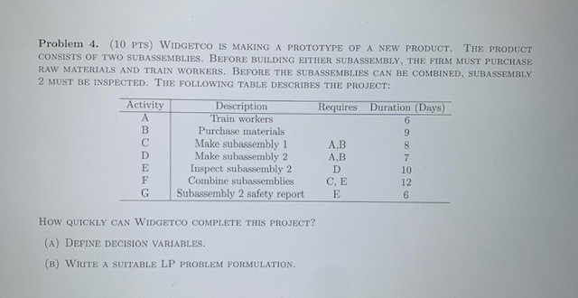 Problem 4. (10 PTS) WIDGETCO IS MAKING A PROTOTYPE OF A NEW PRODUCT CONSISTS OF TWO SUBASSEMBLIES. BEFORE BUILDING EITHER SUBASSEMBLY, THE FIRM MUST PURCHASE RAW MATERIALS AND TRAIN WORKERS. BEFORE THE SUBASSEMBLIES CAN BE COMBINED, SUBASSEMBLY 2 MUST BE INSPECTED. THE FOLLOWING TABLE DESCRIBES THE PROJECT: THE PRODUCT Activity Description Train workers Purchase materials Make subassembly 1 Make subassembly 2 Inspect subassembly 2 Combine subassemblies Subassembly 2 safety report Duration (Days) Requires A 6 B 9 C A,B 8 D A,B 7 D 10 F C, E 12 G 6 How QUICKLY CAN WIDGETCO COMPLETE THIS PROJECT? (A) DEFINE DECISION VARIABLES. (B) WRITE A SUITABLE LP PROBLEM FORMULATION. 2%
