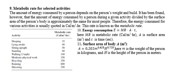 9. Metabolic rate for selected activities The amount of energy consumed by a person depends on the person's weight and build. It has been found, however, that the amount of energy consumed by a person during a given activity divided by the surface area of the person's body is approximately the same for most people. Therefore, the energy consumed for various activities is usually quoted in Cal/m-hr. This rate is known as the metabolic rate. 10. Energy consumption E = MR · A t, here MR is metabolic rate (Calm? hr), A is surface area (m³) and t is time (sec). 11. Surface area of body A (m?): A = 0,202m0425 H0,725 here m is the weight of the person in kilograms, and H is the height of the person in meters. Metabolic rate (Calm'-hr) Activity Sleeping Lying awake Siting upright Standing Walking (3 mph) Moderate physical work Bicycling Running Shivering 35 40 50 60 140 150 250 600 250