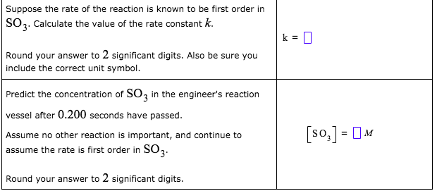 Suppose the rate of the reaction is known to be first order in SO3. Calculate the value of the rate constant k. Round your answer to 2 significant digits. Also be sure you include the correct unit symbol. Predict the concentration of SO, in the engineer's reaction vessel after 0.200 seconds have passed. [so,] = OM Assume no other reaction is important, and continue to assume the rate is first order in SO3. Round your answer to 2 significant digits.
