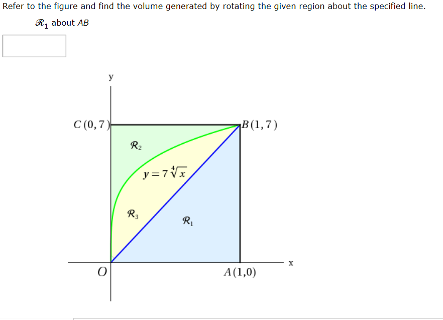Refer to the figure and find the volume generated by rotating the given region about the specified line. R, about AB y C (0,7) ¡B(1,7) R2 y=7Vx R3 R1 х A(1,0)