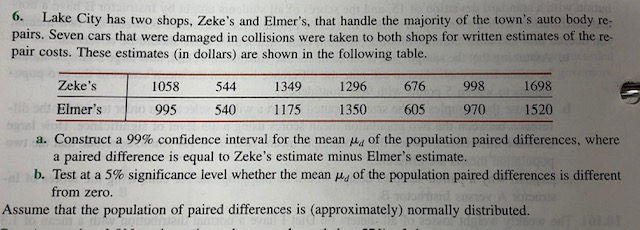 6. Lake City has two shops, Zeke's and Elmer's, that handle the majority of the town's auto body re- pairs. Seven cars that were damaged in collisions were taken to both shops for written estimates of the re- pair costs. These estimates (in dollars) are shown in the following table. Zeke's 1058 544 1349 1296 676 998 1698 Elmer's 1520 995 540 1175 1350 605 970 a. Construct a 99% confidence interval for the mean of the population paired differences, where a paired difference is equal to Zeke's estimate minus Elmer's estimate. b. Test at a 5% significance level whether the mean 4 of the population paired differences is different from zero. Assume that the population of paired differences is (approximately) normally distributed.