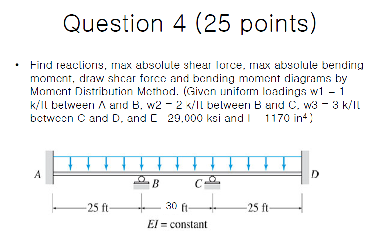 Question 4 (25 points) Find reactions, max absolute shear force, max absolute bending moment, draw shear force and bending moment diagrams by Moment Distribution Method. (Given uniform loadings w1 = 1 k/ft between A and B, w2 = 2 k/ft between B and C, w3 = 3 k/ft between C and D, and E= 29,000 ksi and I = 1170 in4) A D C= -25 ft 30 ft -25 ft El = constant %3D